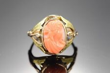10K Victorian Carved Coral Cameo Green Accent Leaf Ring Yellow Gold