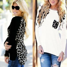 Women Blouse Patchwork Leopard Stitching Chiffon Casual Long Sleeve Lady Tops