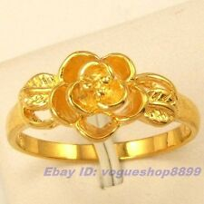 Size 7,8 Ring,REAL FASCINATE FLOWER 18K YELLOW GOLD GP SOLID FILL GEP 4810r
