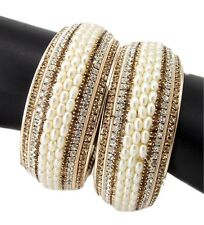 Pearl gold plated CZ fashion jewelry bridal 2pc broad bangle bracelet l1017