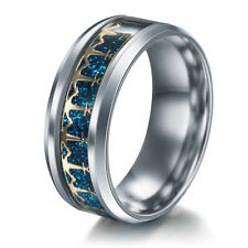 6mm Men Stainless Steel Titanium Anchor Logos Blue/Gold Band Ring Size 6-13