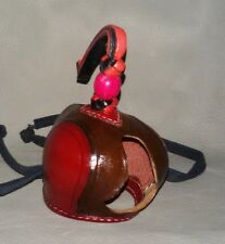 New Falconry Hood Dutch Hand Stitched (Brown & Shiny Red) (All Sizes Available)