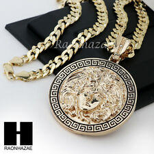 "HIP HOP ICED OUT MEDUSA ROUND PENDANT 24 30 36"" CUBAN LINK CHAIN NECKLACE N36"