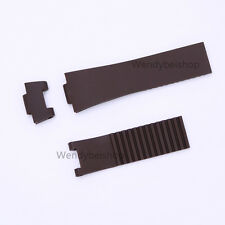 25mm Brown Waterproof Rubber Replacement Watch Band for MARINE Chronograph