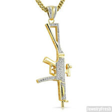 14k Gold Plated CZ Machine Gun Pendant Chain