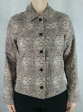Rebecca Malone M black beige ivory embroider button pocket jacket womens