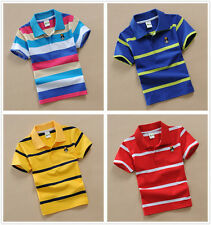 Toddler Baby Kids Boys Top Tee Short  Sleeve Polo T-shirt Size 3,4,5,6,7,8,9,T