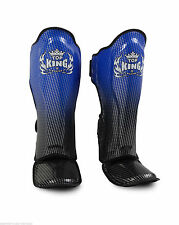 "TOP KING PROFESSIONAL SHIN GUARD ""SUPER STAR""-GEINUINE LEATHER-TKSGSS-01-BLUE"