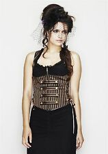 Spin Doctor Giselle Corset Black & Brown Striped Steampunk Gothic Corset Top