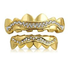 Highest Quality Hip Hop Gold Wavy Iced Out Grillz Combo