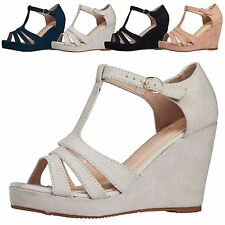 Hetty Womens High Heels Wedges Sandals Strappy Ladies T-Bar Shoes Peep Toe Size