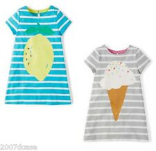 New x Mini Boden Girls Stripy Logo Summer Dress Ages 2-10 Years Cotton Jersey