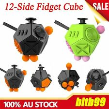 12-Side Fidget Cube Toy Anxiety Stress Attention Relief Puzzle Adults Kids AUE
