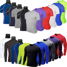 Mens Compression Base Layer Body Armour Thermal Under Skin T-Shirt Tight Tee Top