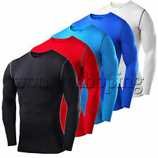 Mens Compression Shirts Thermal Under Base Layer Tight Tops Long Sleeve T-shirt