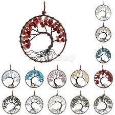 Round Tree Of Life Copper Wire Wrapped Gemstone Pendant for DIY Necklace Jewelry