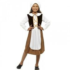 Girls Tudor Costume Milk Maid Kids Childs Medieval  Fancy Dress Up Outfit