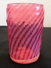 Antique Victorian Cranberry Opalescent Ribbed Swirl Tumbler