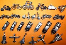 Vintage sterling silver charms, BIKES SCOOTERS CONCORD AIRPLANES CARS MOPED