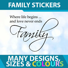 Wall Room Stickers Decal Vinyl Sign  - Family Where Life Begins