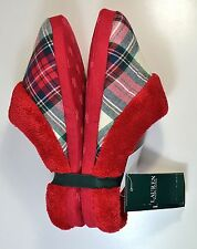 NWT LAUREN RALPH LAUREN RED PLAID FUZZY SOFT SLIPPERS SHOES SZ S, M
