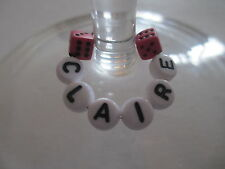 1 6 12 or 25 Personalised - Wine Glass Charms - Pink Dice - Hen / Party Favours
