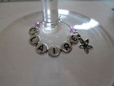 Personalised - FLOWER - Wine Glass Charms - Birthday / Hen / Party Favours