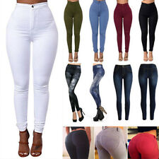Women High Waisted Stretchy Pencil Pants Leggings Slack Skinny Jeans Trousers