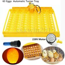 63 Eggs Tray Auto Turner Hatch Chicken Duck Quail Bird Poultry Incubator + Motor