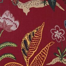 Duralee | Floral 20990-203 | Poppy Red | Large Print Linen Drapery Fabric