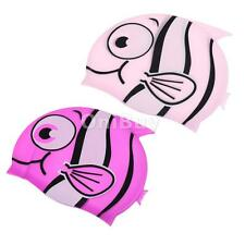 Children Kids Stretchy Silicone Swimming Bathing Cartoon Animal Fish Hat Cap