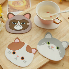 Newest Cute Cartoon Coaster Silicone Cup Cushion Holder Drink Placemat Mat