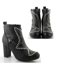 Women's ankle boots black studded High heel ankle boots studded summer moda