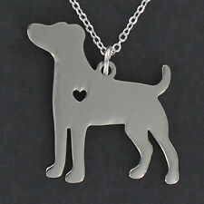 Jack Russell Terrier Necklace - Large Stainless Steel Charm Open Heart Pet NEW