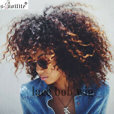 Afro Curly Wavy Glueless Lace Front Short Bob Wig Synthetic Hair Wig No Bangs #f
