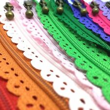 5 x Floral Closed End Nylon Lace Zips - 15cms to 40cms Zippers