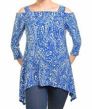 Avital Paisley Cold Shoulder Trapeze Shirt Stretch Top Flattering Handkerchief
