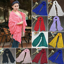 Womens Girls Plain Long Neck Scarf Silk Scarves Wrap Large Voile Stole Shawl