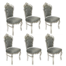 6 FRANCE ROYAL BAROQUE STYLE DINING CHAIRS - GREY