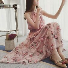 Elegant Korean Women Summer Fashion Sleeveless Off Shoulder Floral Chiffon Dress