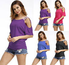 Womens Cut Out Cold Shoulder Blouse Tops Ladies Casual Tops Batwing T Shirt Tee