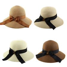 Women Lady Straw Bowknot Decor Brimmed Beach Hat Topee Floppy Sun Protector Cap