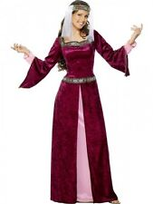 Ladies Maid Marion Costume Womens Adults Medieval Juliet Fancy Dress Outfit