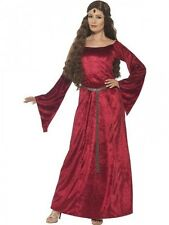 Ladies Red Medieval Costume Womens Adults Maid Marion Juliet Fancy Dress Outfit