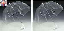 x2 Large Clear Dome See Through Umbrella Handle Transparent Brolly 4 Wedding etc