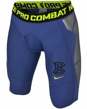 NIKE Pro Combat Hyperstrong Slider 1.5 BLUE Silver Baseball Shorts NEW Men S M L