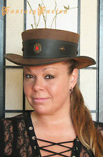 Steampunk Hat Victorian High Class Vintage Leather SHORT Top Hat 2 Tones