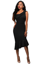 Woman's New Sexy Single Shoulder Ruffle Party Dress Small to Plus Size 4 Colours