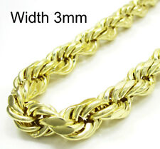 """Mens Womens 3MM 10K Yellow Gold Diamond Cut Rope Chain Necklace – 18"""" – 24"""" Inch"""