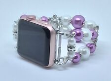 """Lilac/Faux White Pearl Beaded Watch Band For Apple Watch Wrist Size 6 3/4 to 7"""""""